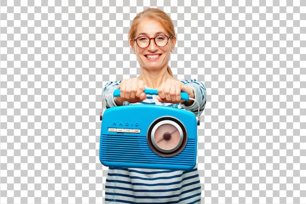 Senior beautiful woman with a vintage radio