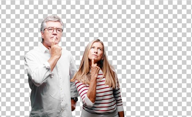 수석 멋진 남편과 아내 혼란스럽고 사려 깊은 표정으로