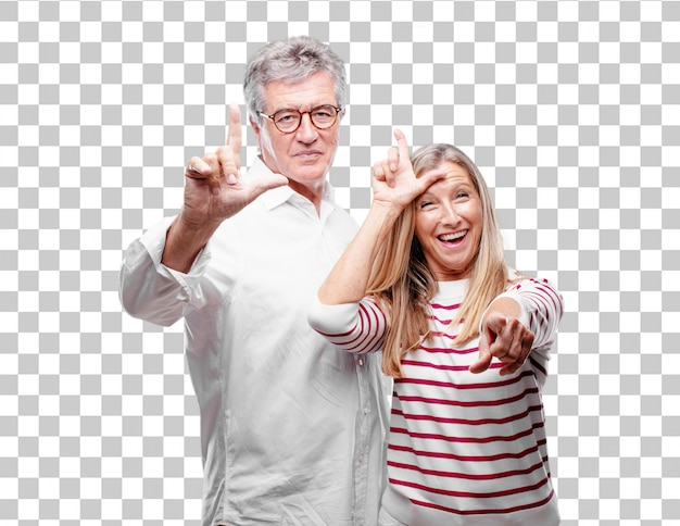 Senior cool husband and wife gesturing