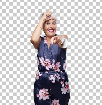 Senior cool woman looser sign