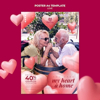 愛のポスターテンプレートの年配のカップル