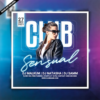 Sensual club night party flyer or social media post