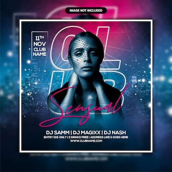 Sensual club party flyer template