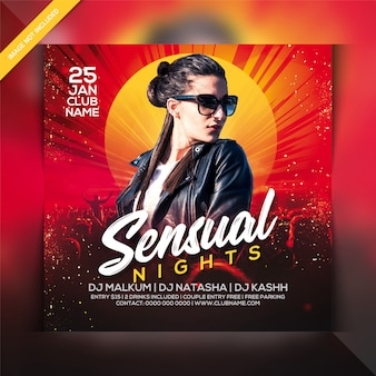 Sensual night party flyer template