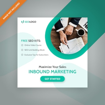 Seo маркетинг квадратный баннер. шаблон для социальных сетей и веб-рекламы.