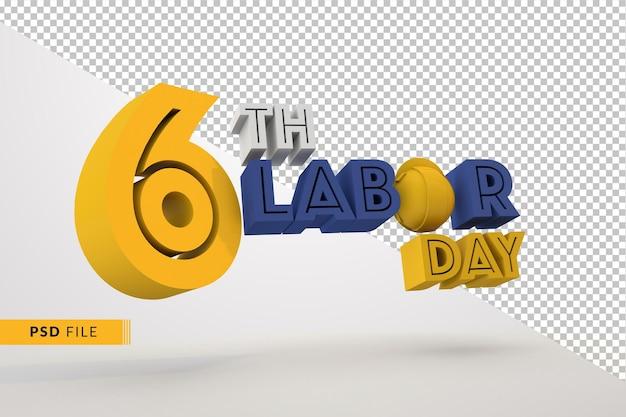 Празднование дня труда 6 сентября в 3d концепции