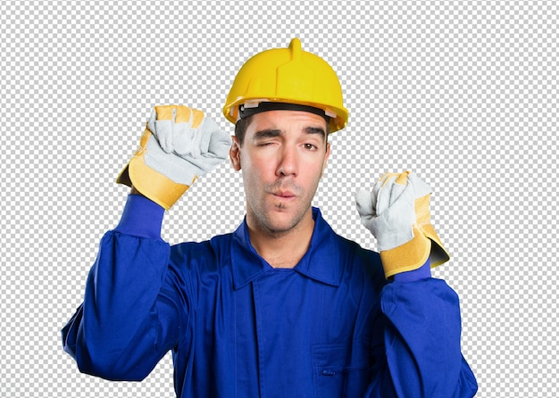 Serious worker challenging on white background