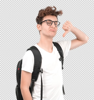 Serious young student doing a loser gesture