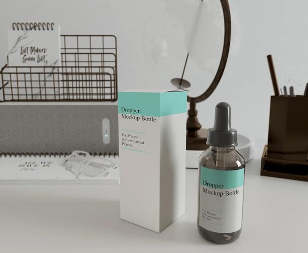 Бутылка с сывороткой и макет коробки 3d рендеринг