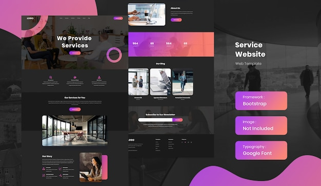 Шаблон сайта сервисного бизнеса Premium Psd