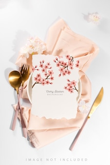 Serving table setting with card mockup for menus and flyers