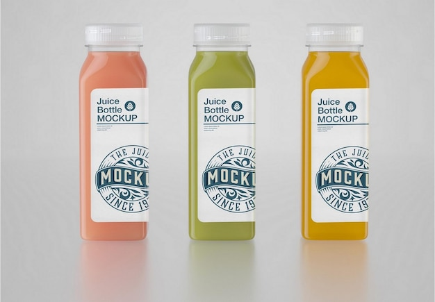 Set of 3 juice plastic bottle mockup
