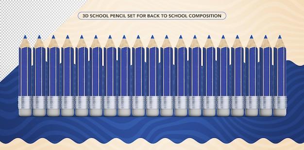Set of 3d blue pencils for back to school makeup