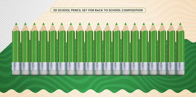 Set of 3d green pencils for back to school makeup