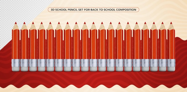 Set of 3d red pencils for back to school makeup
