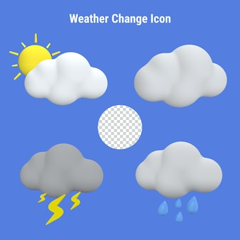 A set of 3d weather change icons on a blue background