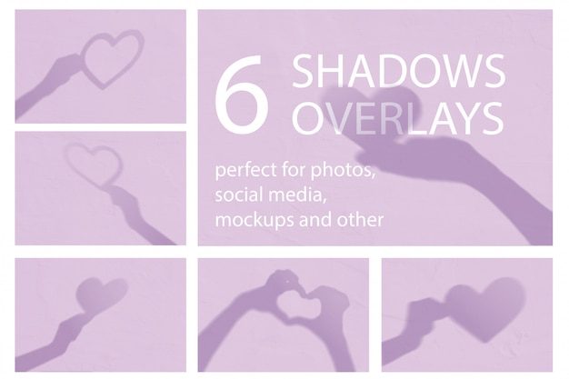 Set of 6 modern minimalistic valentine shadows with hearts and hands on a white wall.
