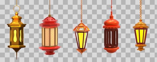 Set di lampade arabe. illustrazione 3d