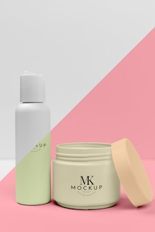 Set of beauty products bottles