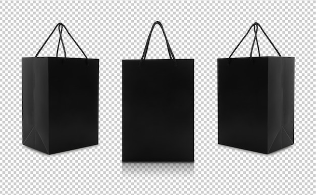 Set of black paper bags with handles