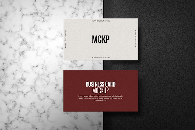 Set of business card mock up on marble surface