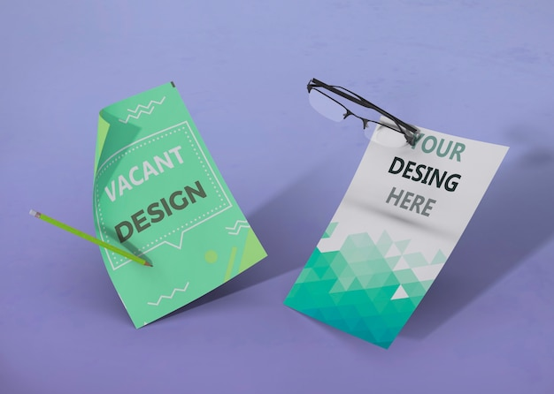 Set of business corporate identity mock-up and glasses