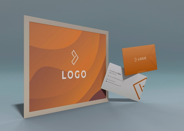 Set of business corporate identity mock-up with liquid orange effect