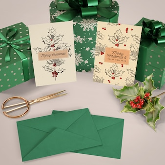 Set of christmas gifts and cards mock-up