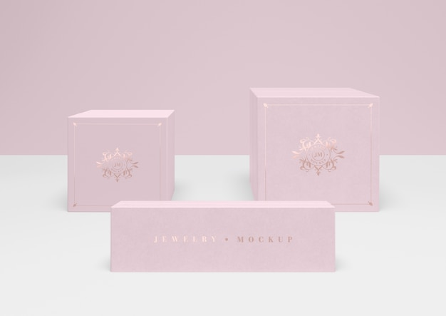 Set of closed pink jewellery boxes