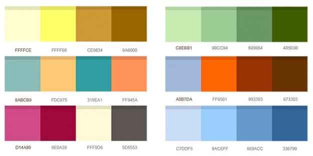 Set of color combinations