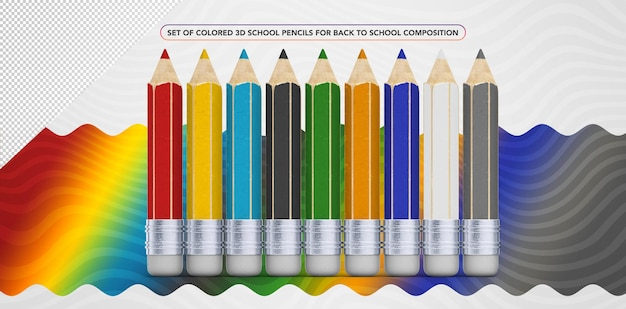 Set of colored pencils for back to school
