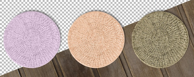 Set colored round woven straw mats isolated against transparent background.