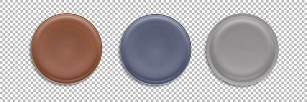 Набор цветных округлых пластин, изолированных с прозрачностью