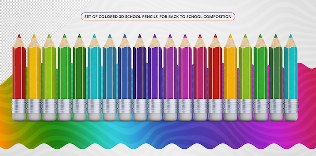 Set of colorful 3d pencils for back to school makeup