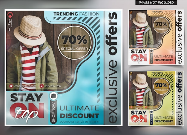Set of colorful web banner template design