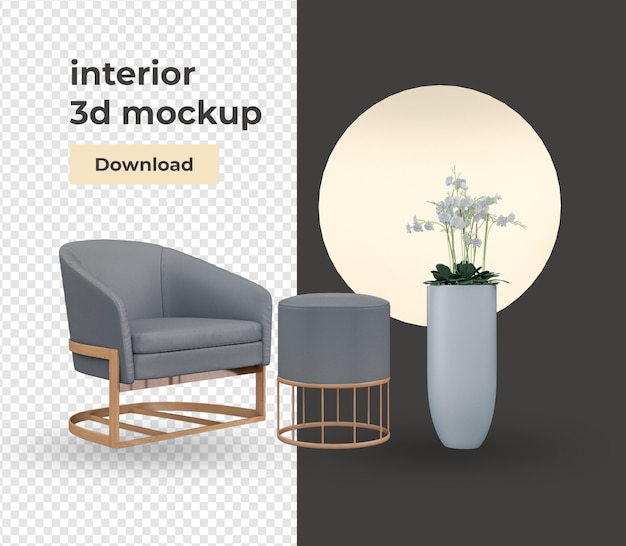 Set decoration design with modern style isolated