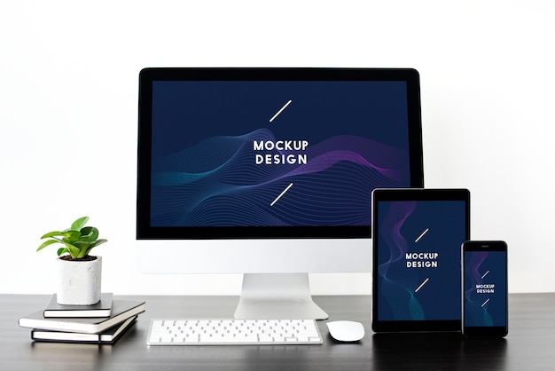 Set of digital devices screen mockup