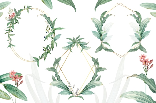 Set of empty frames with green leaves design