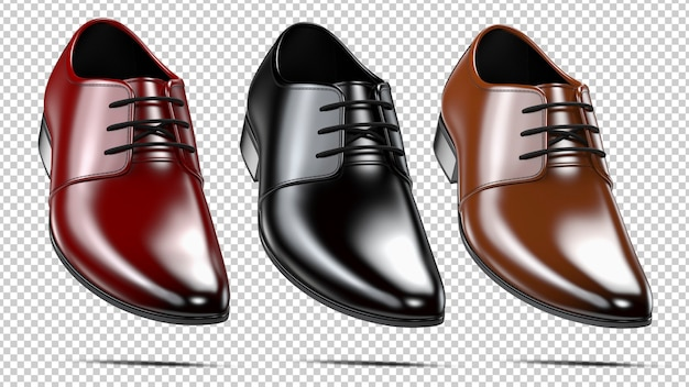Set of a fashion elegant black red and brown men's shoes