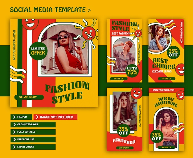 Set of fashion retro instagram stories and post template