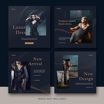 Set of fashion square banner template with abstract wave premium psd