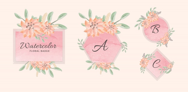 Set of feminine geometric badge with pink watercolor background and flowers