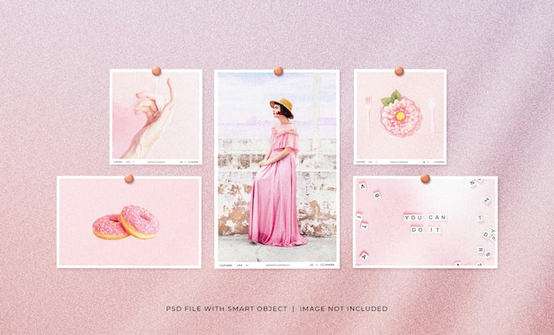 Set of feminine polaroid photo frame mockup