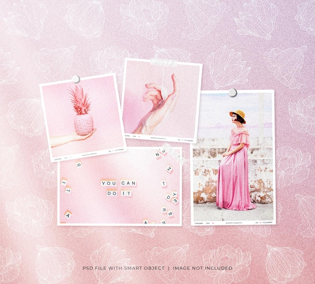 Set of feminine polaroid photo frames mockup with flower pattern