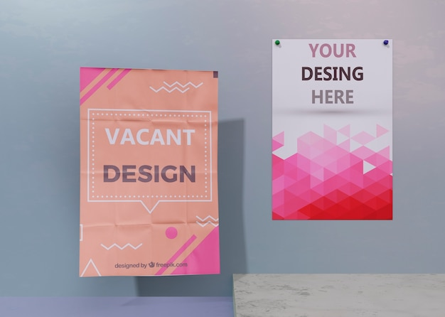 Set of flyer and poster business corporate identity mock-up