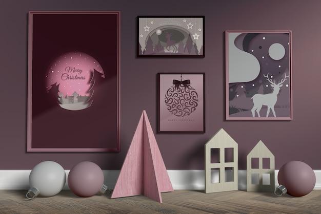 Set di collezione di cornici su parete mock-up