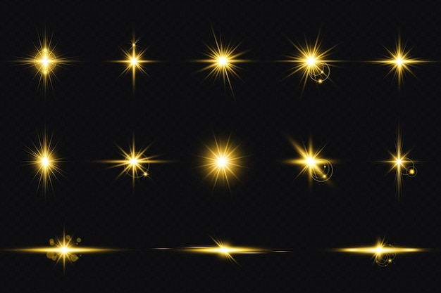 Set of golden transparent light lens flares streaks big set