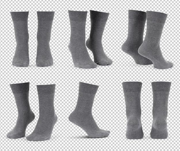 Set of grey socks isolated