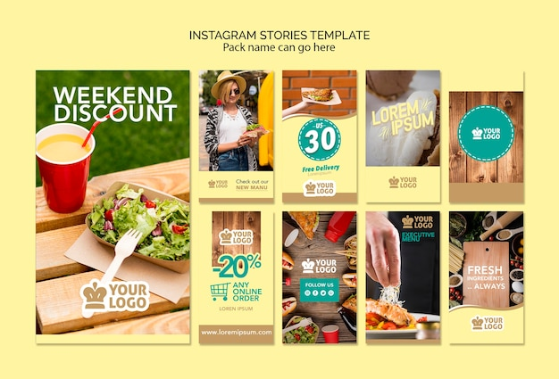 Set of instagram stories template with delicious food offers