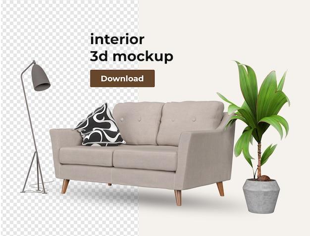 Set interior of decoration interior decoration in 3d rendering